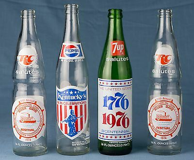 1970s 4x 7up RC Cola Pepsi commem bottles Libery Bell BICENTENNIAL Ohio River
