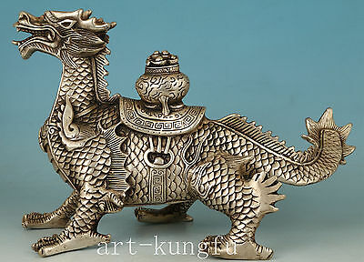 exquisite China Copper Plating Silver Hand Carved fly devil Dragon Statue