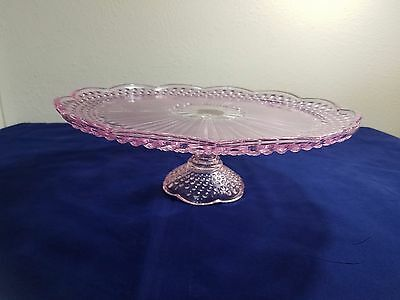 Gotham Emily's Attic Pink Hobnail Pedestal Cake Stand Plate 13 inches across