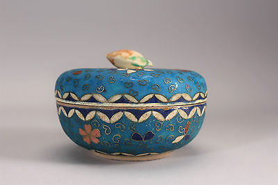 Antique Japanese Vase Meiji Totai Shippo Cloisonne Lidded Box Turquoise Floral