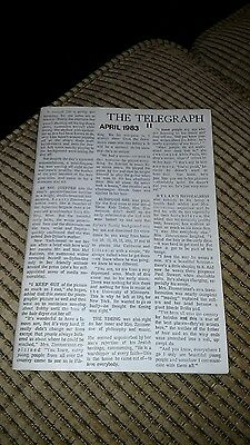 "Bob Dylan ""The Telegraph""  the Wanted Man Newsletter Issue 11 April 1983"