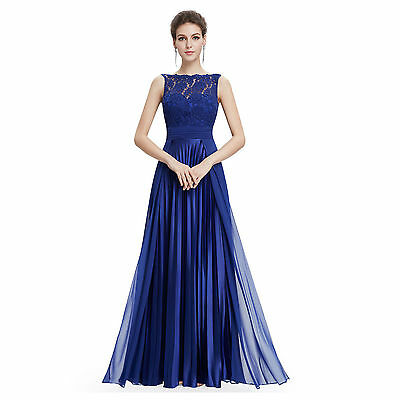 Elegant Women Lace Sleeveless Ball Gown Formal Wedding Cocktail Party Long Dress