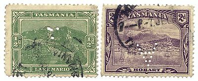 Tasmania. Pair Of Pictorials Both Perforated Officials Used.