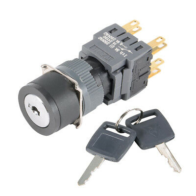 16mm Mounting DPDT on-off-on Lacthing Selector Key Lock Switch w 2 Keys