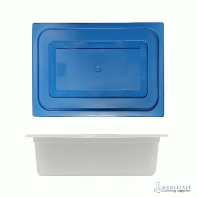 12x Food Pan with Blue Lid 1/2 GN 150mm Half Size Polypropylene Gastronorm