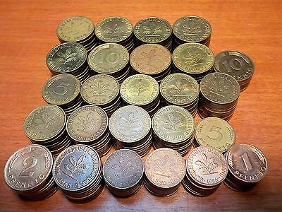 Mixed Lot of Circulated Coins from Germany   1, 2, 5, 10  Pfennig coins