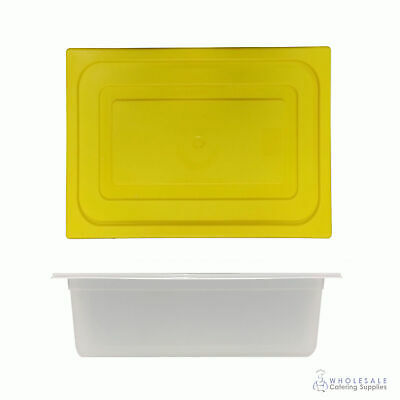 12x Food Pan with Yellow Lid 1/2 GN 150mm Half Size Polypropylene Gastronorm