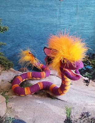 Feathered Serpent, Handmade Art Doll Needle Felted Snake, Soft Sculpture Monster