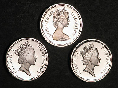 GREAT BRITAIN 1983-85-86 1 Pound Silver Choice Proof