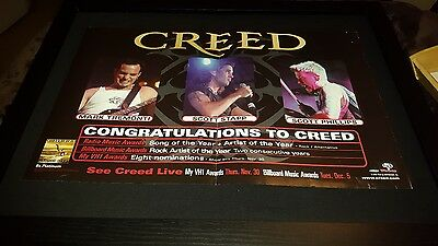 Creed Humam Clay 8x Platinum Wind Up Records Rare Promo Poster Ad Framed!