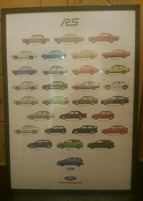 Ford RS History Heritage Poster A1 Cosworth Escort Sierra Focus Capri Fiesta 200
