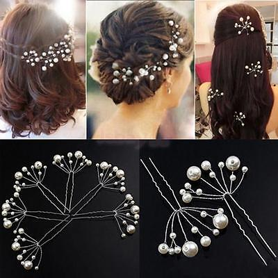 6pcs Silver Wedding Bridal Bridesmaid Pearls Hair Pins Clips Comb Headpiece