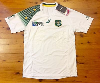 Australia Wallabies 2015 World Cup Asics Away Rugby Union Shirt Jersey Small