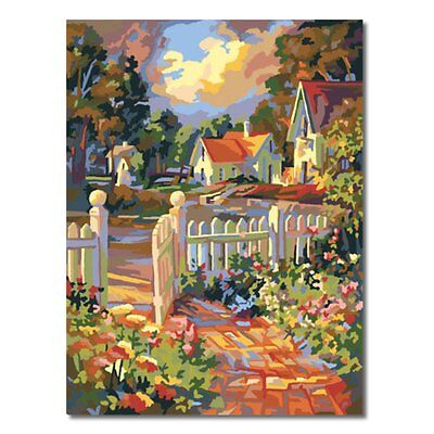 16x20'' DIY Acrylic Paint By Number Kits Oil Painting On Canvas Fence Courtyard