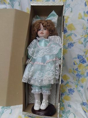 2 Alberon Porcelain Dolls In Original Boxes Turquoise And Plaid.