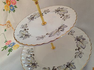 Two tier vintage Aynsley china cake stand in pretty grey leaf and gilded pattern