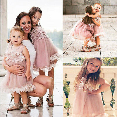 USA Flower Kids Baby Girl Princess Bridesmaid Petal Tulle Party Formal Dress