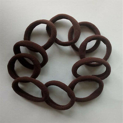 10pcs Girls Elastic Hair Ties Band Rope Ponytail Bracelets scrunchie brown 80284