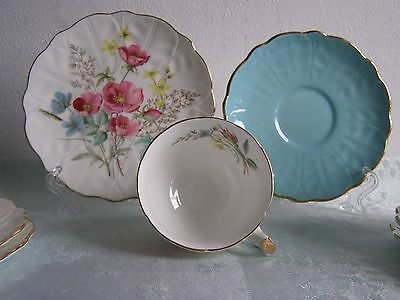 Aynsley 9304 Wild Flowers Antique Bone Chine Tea Trio in Mint Condition