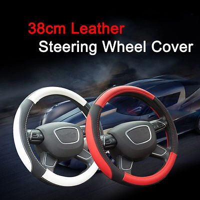 "DIY Universal 15"" Steering Wheel Cover Leather Fit for Car Truck Auto 5 Colors"