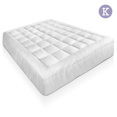 NEW King Bed Size Bamboo Pillowtop Mattress Topper 5cm Thick, 45cm Elastic Skirt