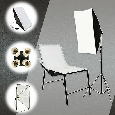 "20""x 27.5"" Photo Studio Lighting Softbox + 4 in1 E27 Socket Lamp Head Holder Kit"