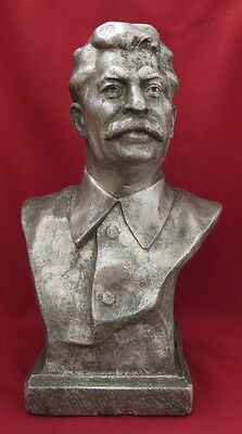 VERY RARE Soviet Statue 1930s STALIN H=10,2in Russian USSR Sculpture Bust Vintag