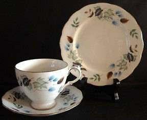 Vintage Colclough 1960s Tea Set Bone China  Linden Blue and Brown Trio