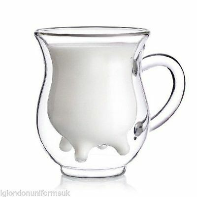 set of 2 - Double wall Double-layer Glass coffee cow milk mug DW-231