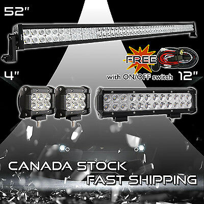 """52Inch LED Light Bar Combo + 12"""" + 4"""" in CREE PODS OFFROAD SUV 4WD  JEEP FORD 50"""