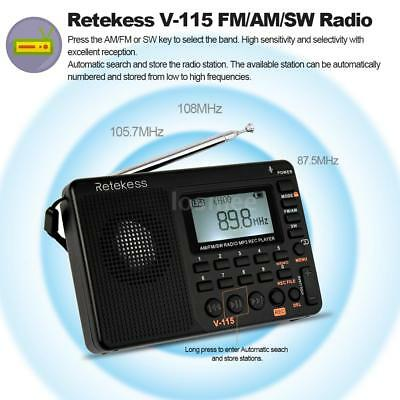 TIVDIO V115 FM/AM/SW Mini Radio World Band Receiver MP3 Player Rechargeable U4G2