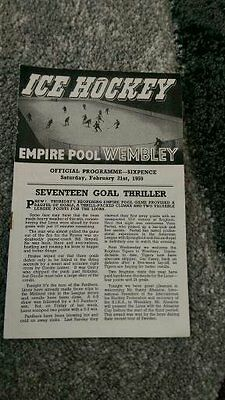** Ice Hockey Programme - Wembley Lions V Nottingham Panthers - 1959 **