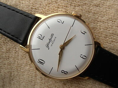 Glashutte Gub  17 Jevels  Gold Plated Round Case Free Shipping