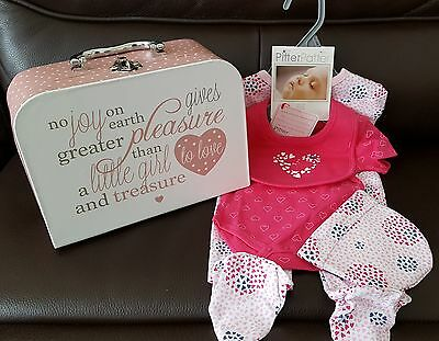 Unique Baby Gift Hamper Set. 4 Piece clothes set in gorgeous keepsake suitcase.