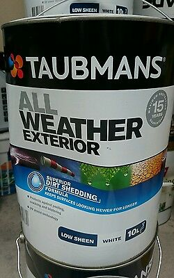 10L TAUBMANS ALL WEATHER Exterior White Low Sheen Wall Paint!