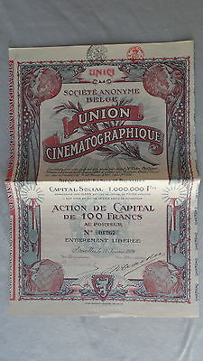 S.A. Belge Union Cinematographique-Action de Capital de 100 Francs-v.1920