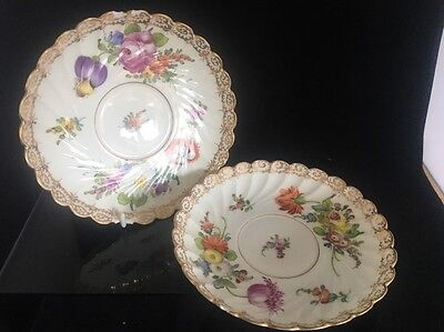 Pair antique hand painted floral Dresden porcelain saucers repair restoration