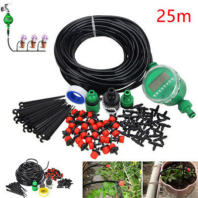 Micro Drip Irrigation System Auto/Manual Timer Plant Watering Garden Hose Kit