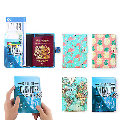 Premium PU Leather Travel Passport Holder RFID Blocking Cards Case Cover