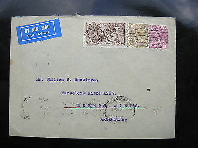 1934 Airmail Cover To Argentina 2/6 Seahorse Neat Clean Cover  (Late Use Of 2/6)