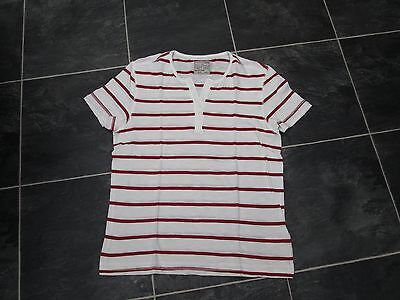 Mens Burton Crew Neck T Shirt Cream With Red Stripes Size S