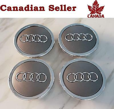 "4 Audi Wheel Center Caps - Mat Grey & Silver Trim - 68 mm (2.75"") - All Models"