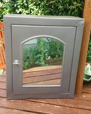 Vintage Metal Mirrored Bathroom Cabinet with Internal Shelf Pre Stripped Working
