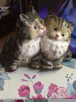 Rare Adorable Pair Of Vintage Beswick Black Grey Striped White Persian Cats 1316