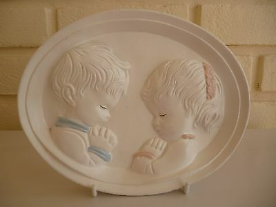 Wall Plaque Boy & Girl Vintage Chalk Ware Plaster From Malta