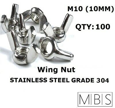 100 x M10 Stainless Steel 304 A2 Wing Nut 10mm Metric DIY - Free Post