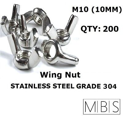 200 x M10 Stainless Steel 304 A2 Wing Nut 10mm Metric DIY - Free Post