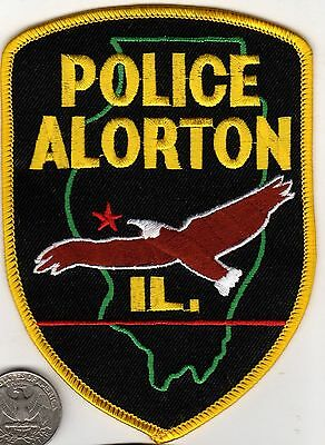 ALORTO POLICE PATCH State of Illinois Eagle pictured in Cloth Badge/Shield desig