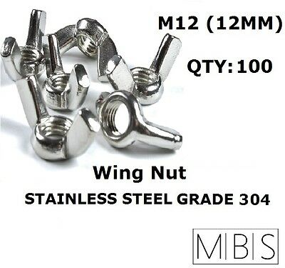 100 x M12 Stainless Steel 304 A2 Wing Nut 12mm Metric DIY - Free Post