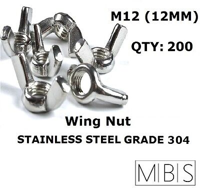 200 x M12 Stainless Steel 304 A2 Wing Nut 12mm Metric DIY - Free Post